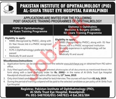 Pakistan Institute of Ophthalmology PIO Rawalpindi Jobs