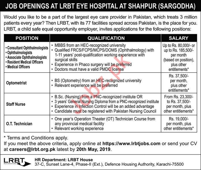LRBT Eye Hospital Medical Saff jobs 2019