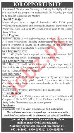 Construction Company Jobs 2019 in Islamabad & Multan