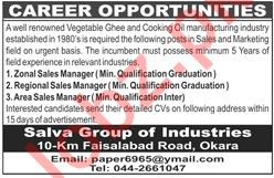 Salva Group of Industries Okara Jobs 2019 for Managers