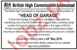 British High Commission Islamabad Job For Head of Garage