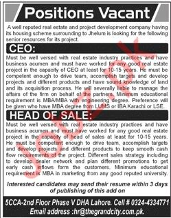Chief Executive Officer CEO & Head of Sales Jobs 2019
