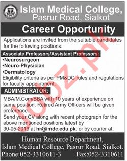 Islam Medical College Jobs 2019 in Sialkot