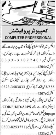 Daily Jang 12 May Computer Professional Staff Jobs 2019
