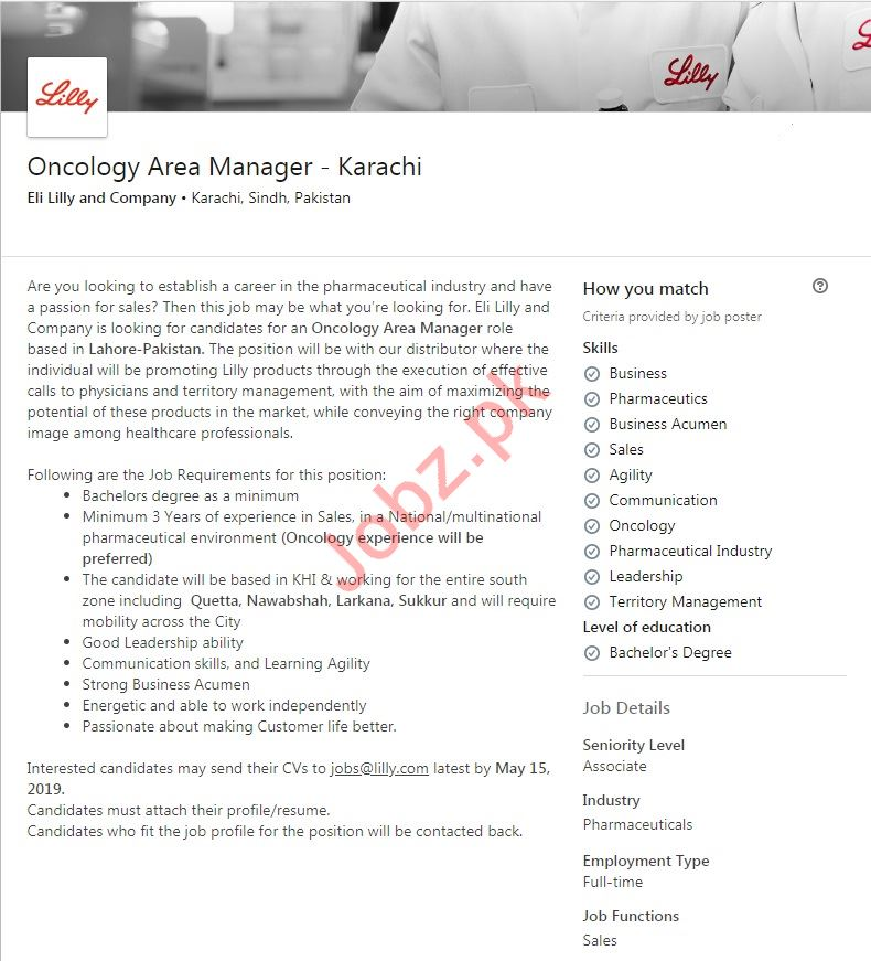 Eli Lilly and Company Job 2019 For Oncology Area Manager