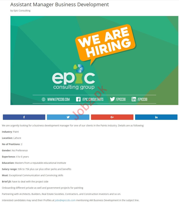 Assistant Manager Business Development Job 2019