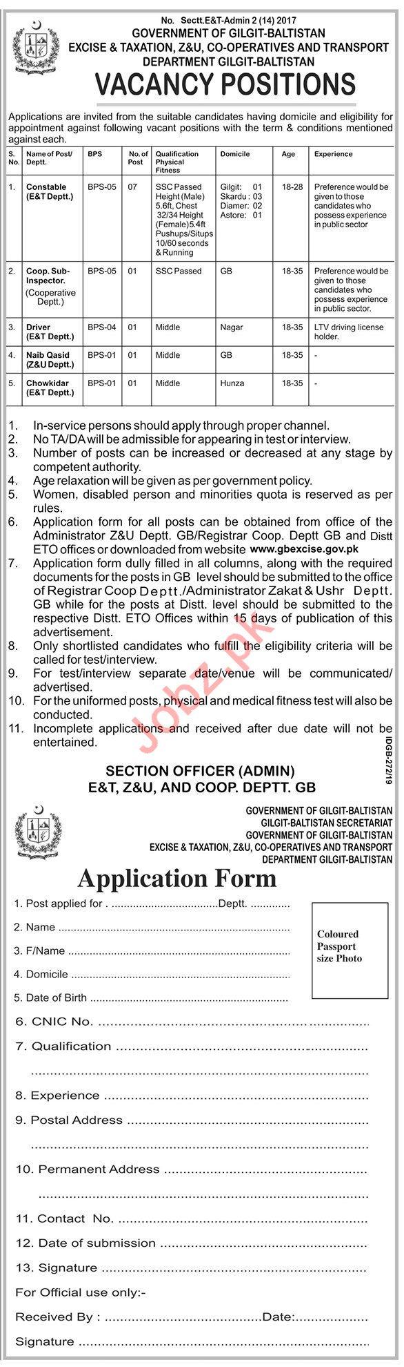 Excise & Taxation Department Gilgit Baltistan Jobs 2019