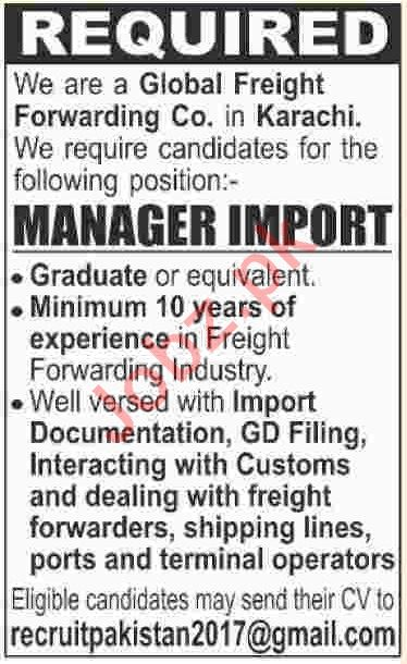 Manager Import Jobs 2019 in Karachi