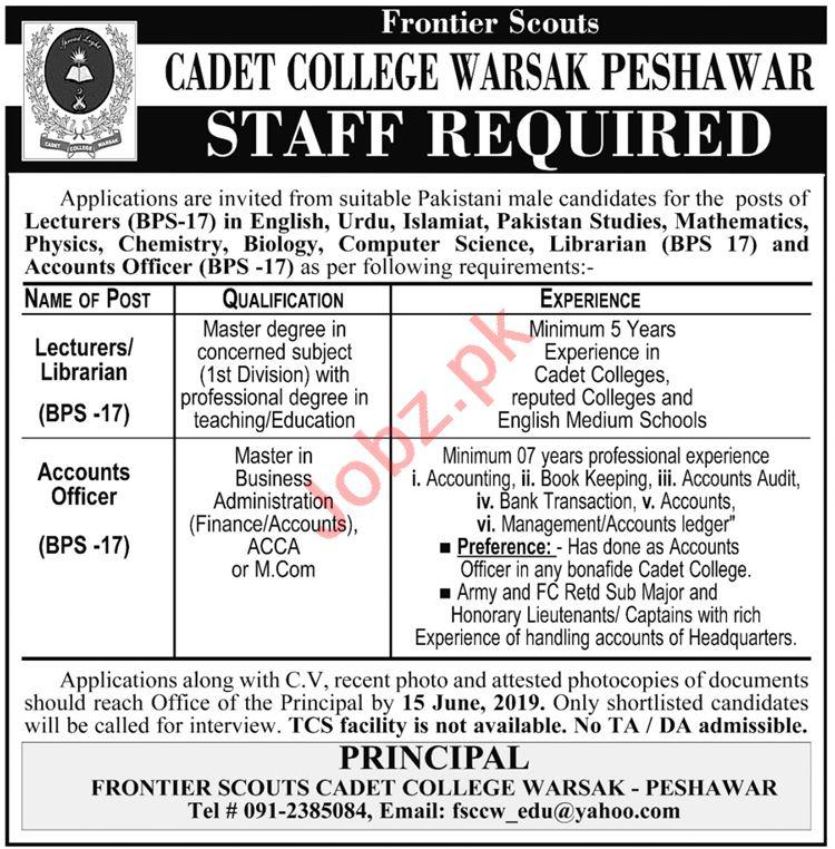 Cadet College Warsak Management Jobs 2019