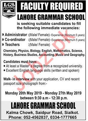 Lahore Grammar School Faculty Jobs 2019 in Sialkot
