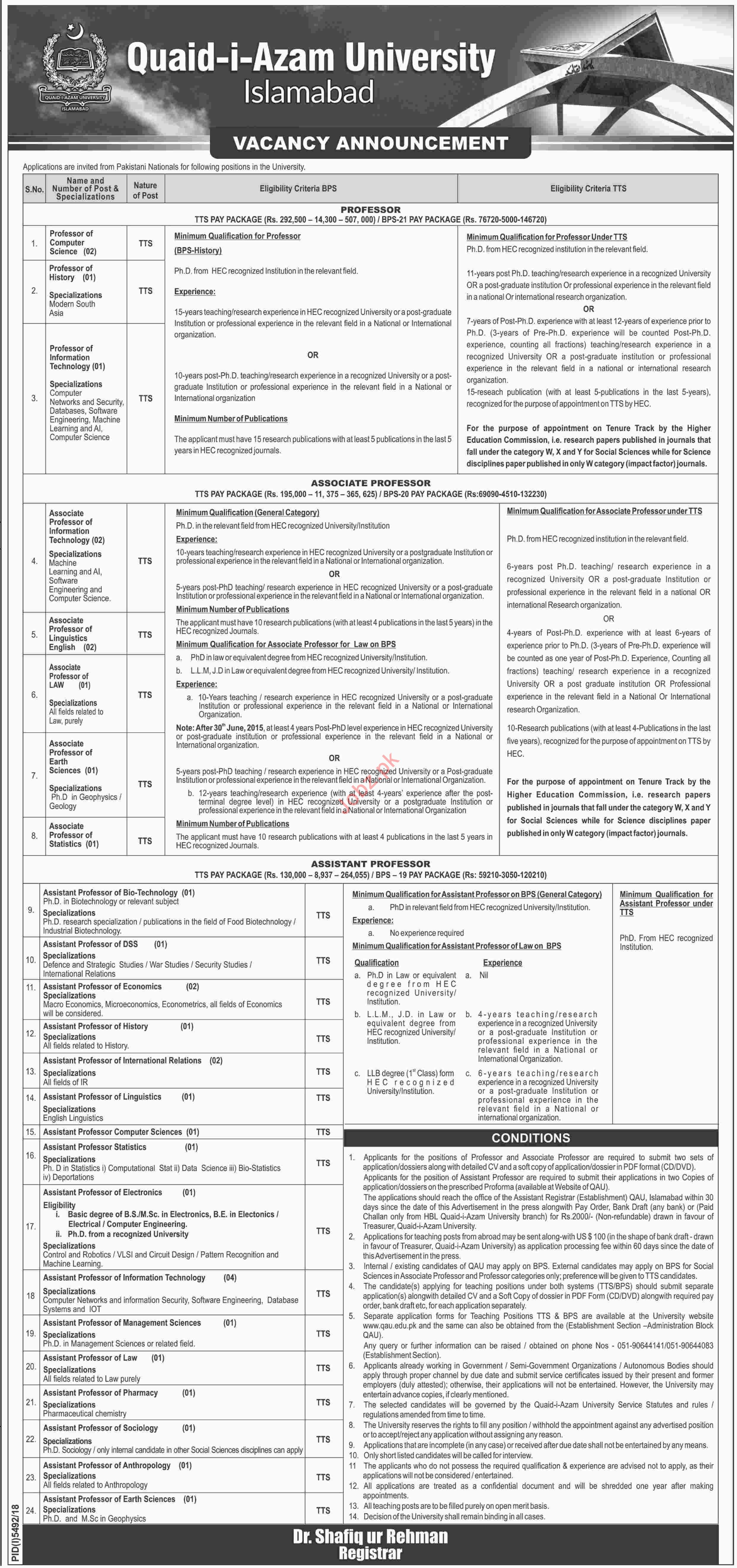 Quaid i Azam University Jobs 2019