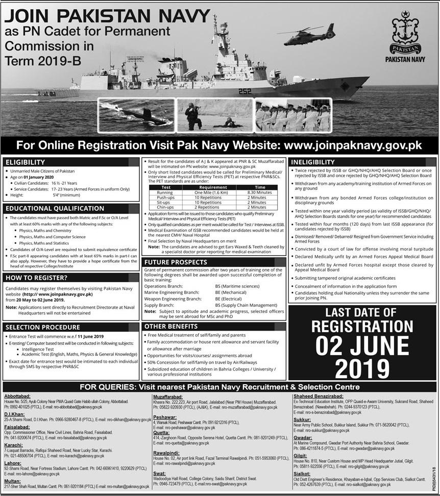 Pakistan Navy Jobs As PN Cadet 2019