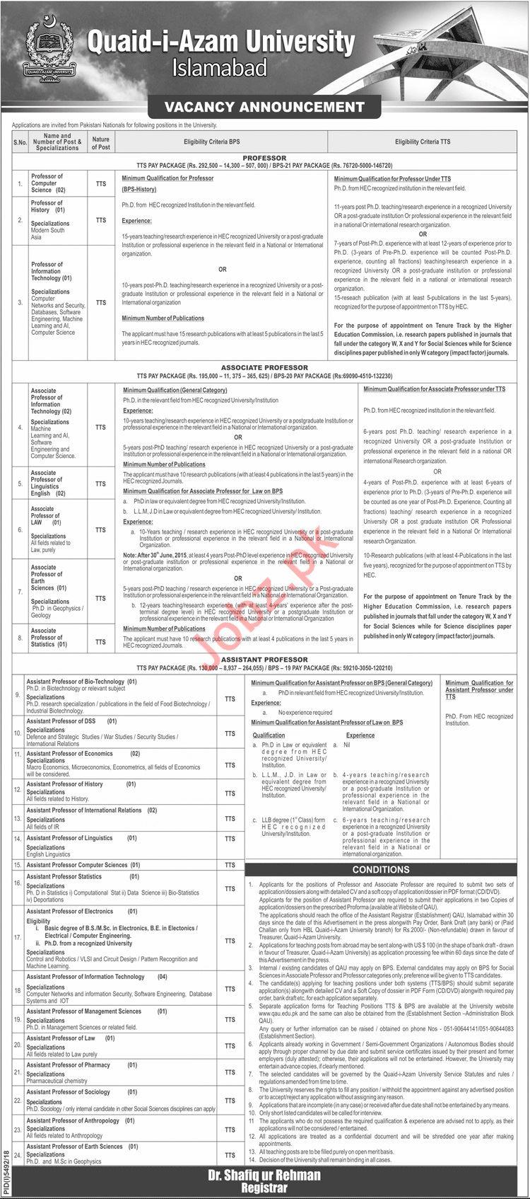 Quaid i Azam University Islamabad Teaching Jobs 2019