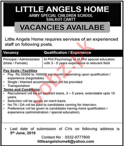 Army Special Children School Jobs 2019 in Sialkot Cantt