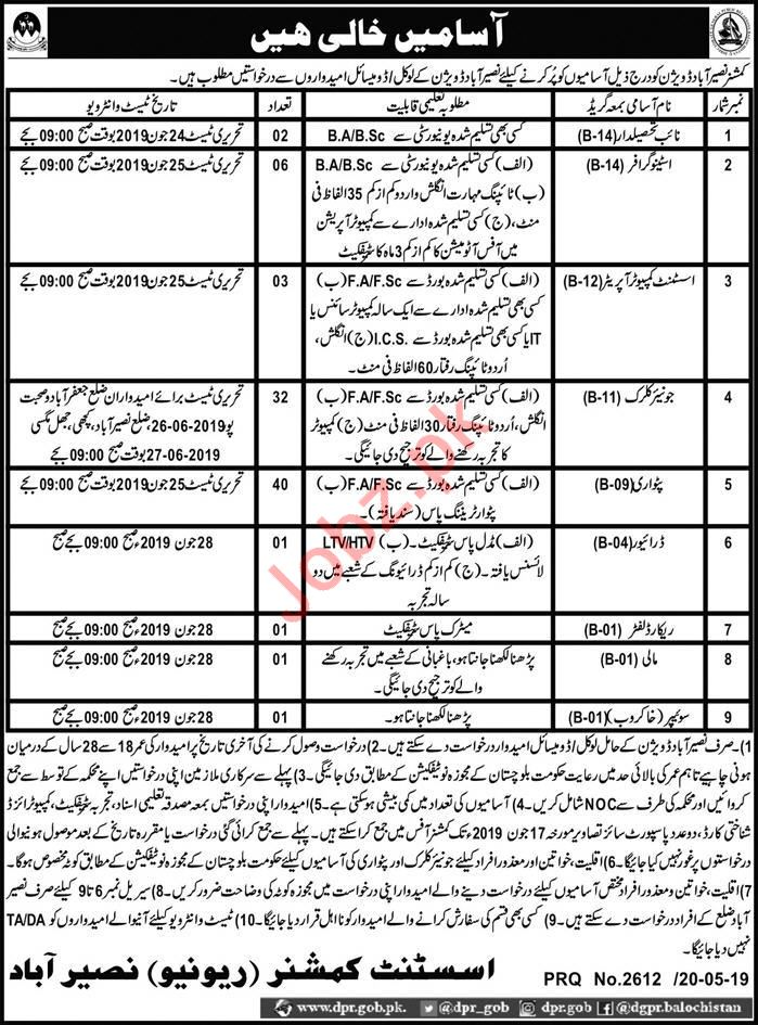 Commissioner Naseerabad Clerical Jobs 2019