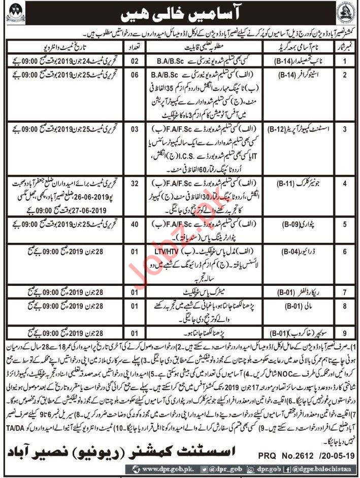 Commissioner Office Jobs 2019 in Nasirabad Division