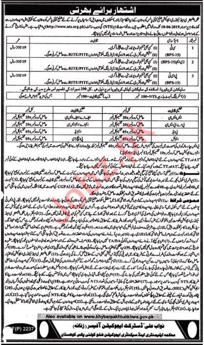 Elementary & Secondary Education Jobs in Kohistan via NTS