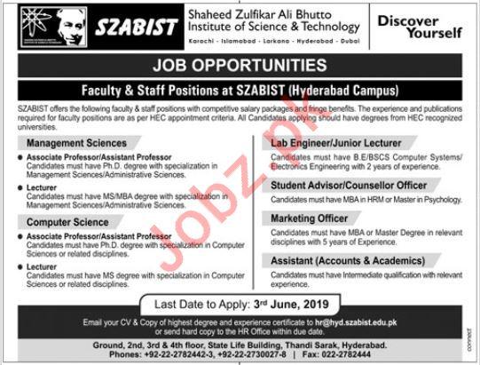 SZABIST Faculty & Non Faculty Jobs 2019 in Hyderabad Campus