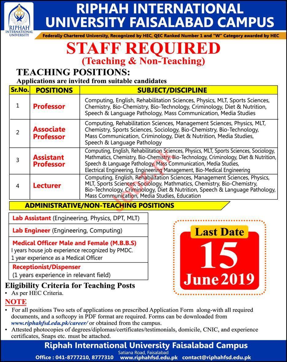 Riphah International University Faisalabad Campus Jobs 2019