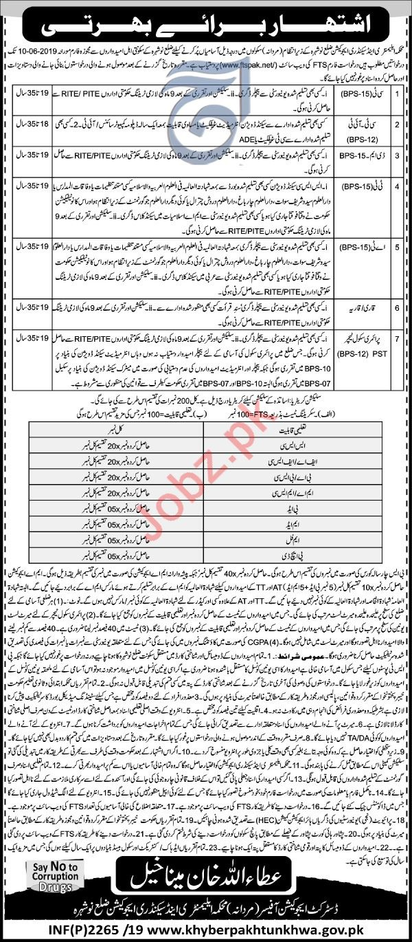 Elementary & Secondary Education Jobs in Nowshera