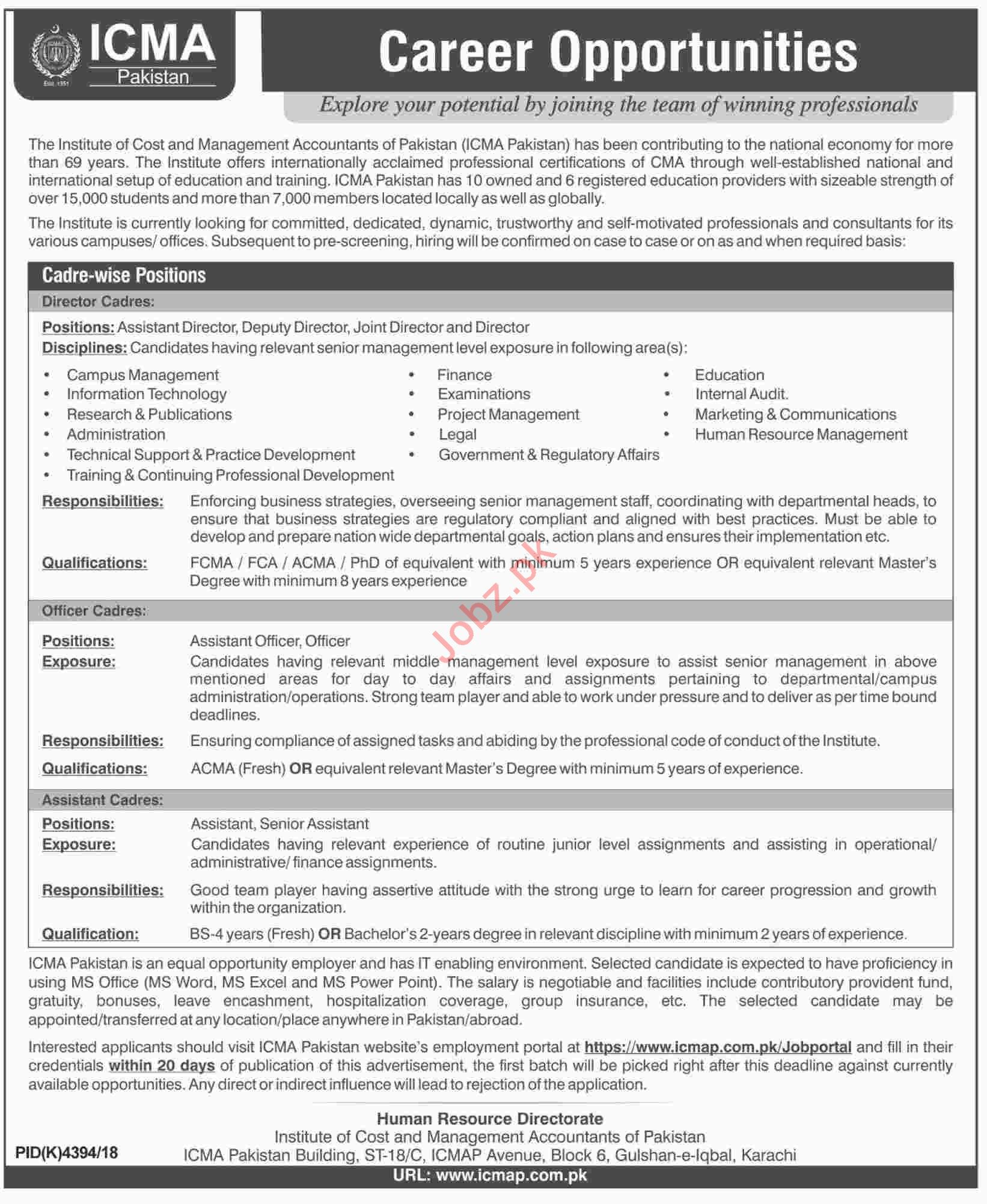 ICMA Pakistan Jobs 2019 for Director Cadres