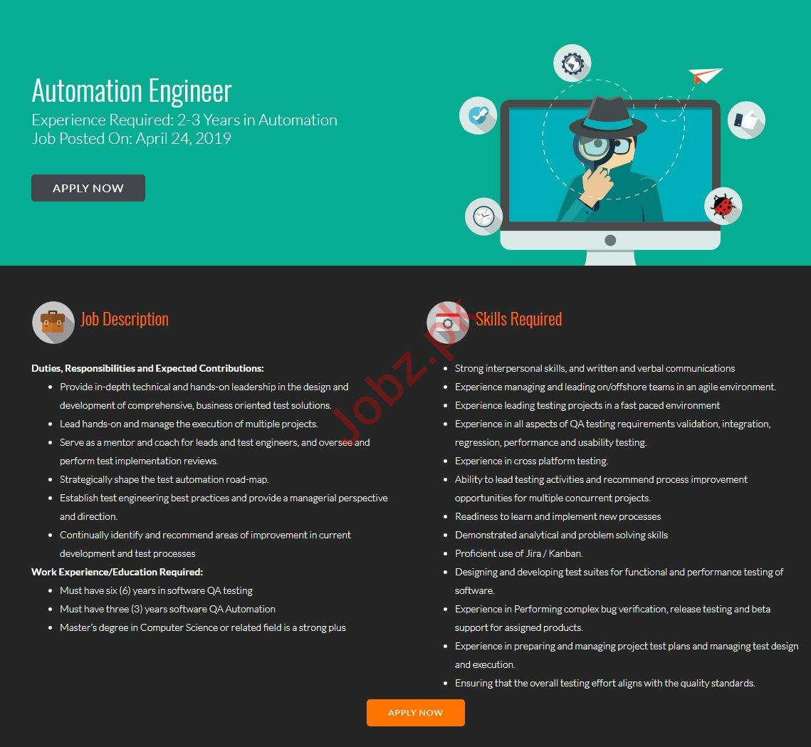 FiveRivers Technologies Jobs 2019 for Automation Engineers