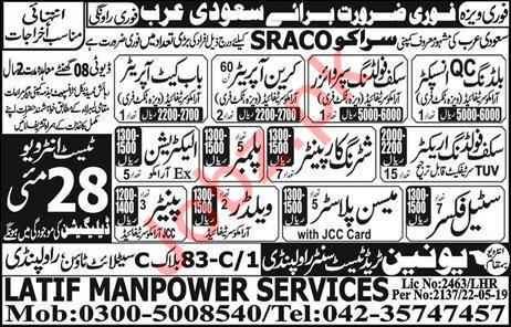 SRACO Company Construction Jobs 2019 in Saudi Arabia