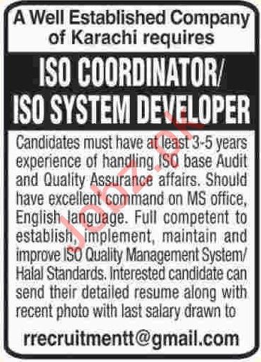 ISO Coordinator & ISO System Developer Jobs 2019