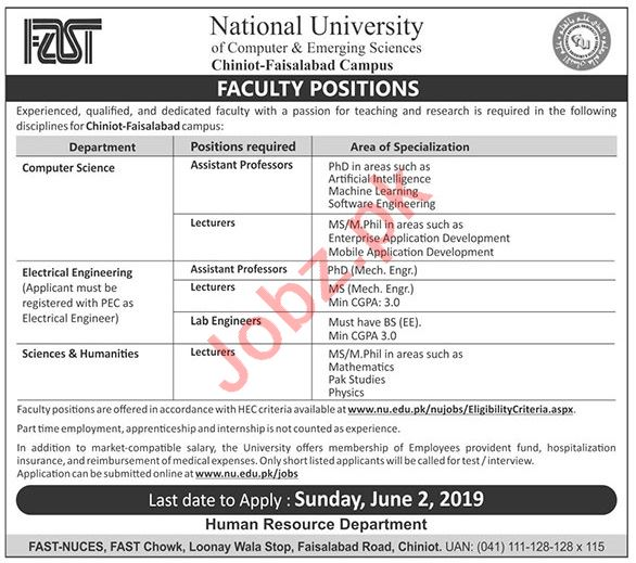 Fast University Lecturer & Assistant Professor Jobs 2019