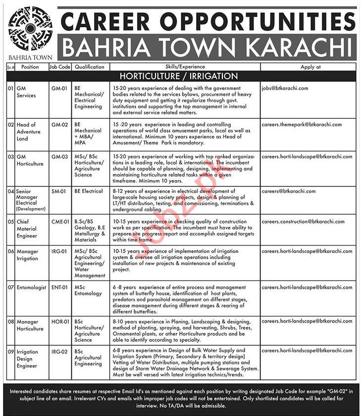 Bahria Town Karachi Jobs 2019