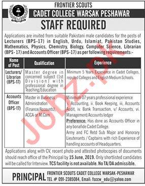Cadet College Warsak Management Jobs 2019 in Peshawar