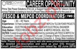 Coordinator Jobs in Prime Tele Power Solution