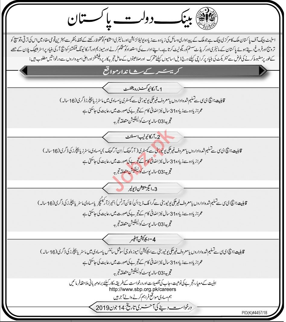 State Bank of Pakistan SBP Archive Conservationist Jobs 2019