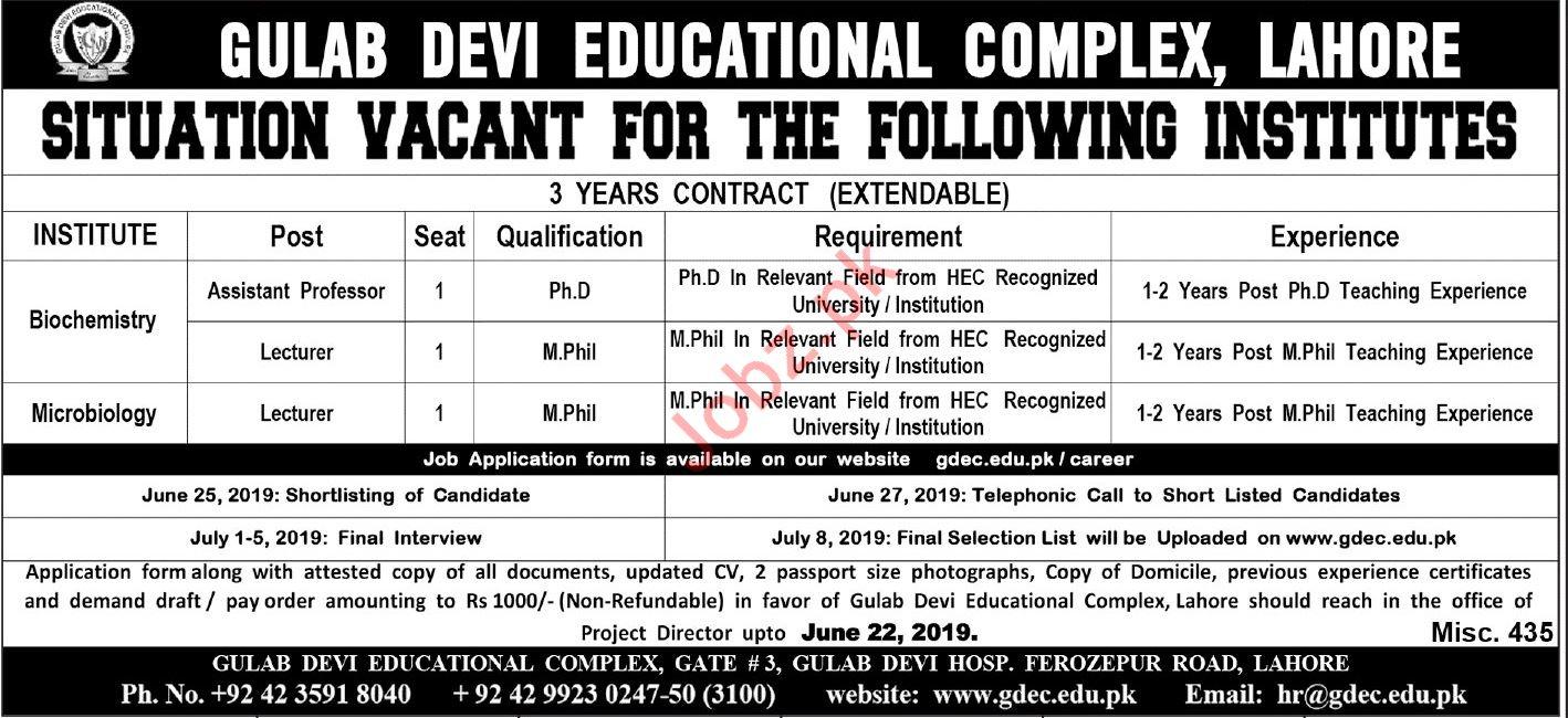 Gulab Devi Educational Complex Professor Jobs 2019