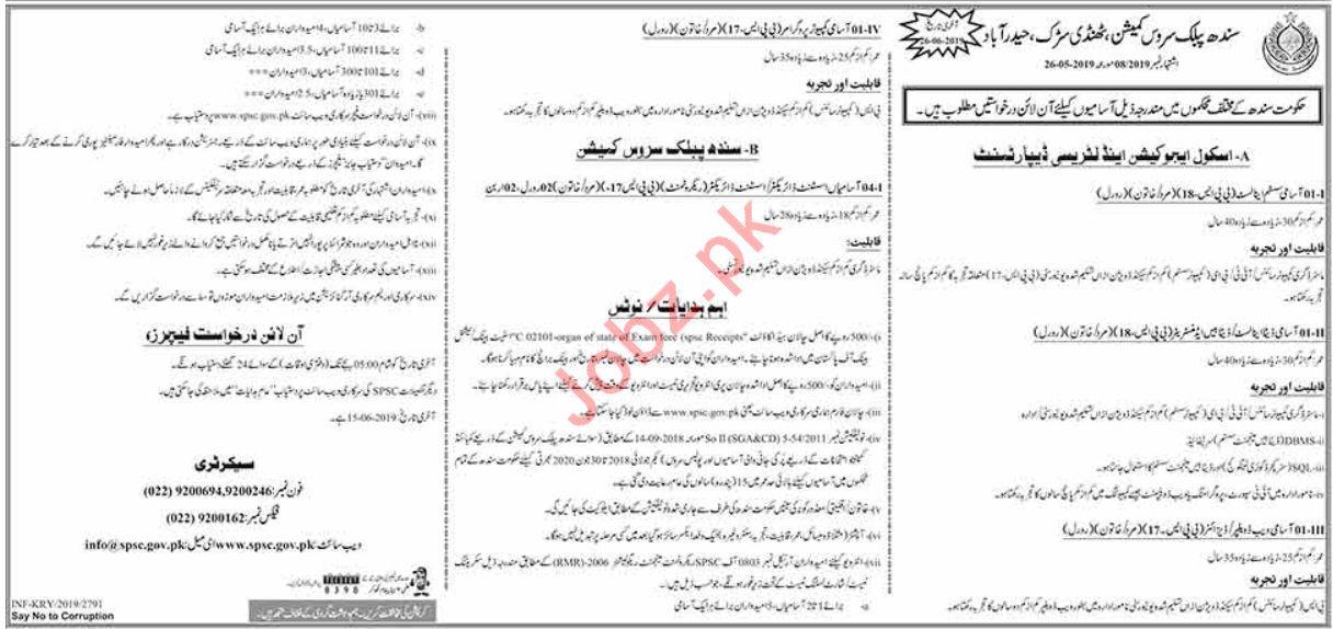 Sindh Public Service Commission SPSC Management Jobs 2019