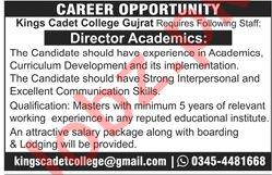 Kings Cadet College KCC Gujrat Jobs for Director Academics