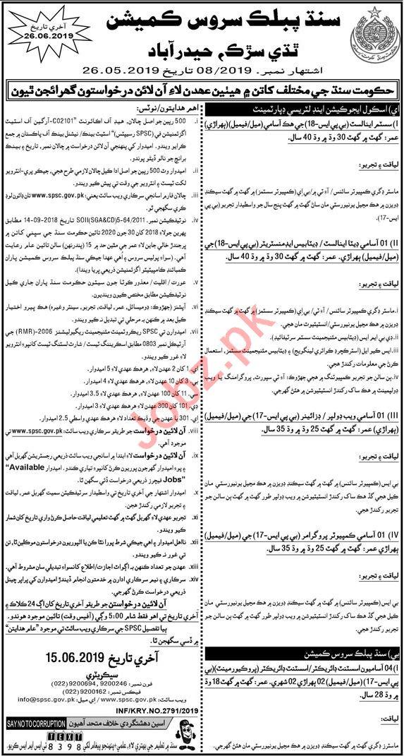 SPSC Sindh Public Service Commission Jobs 2019