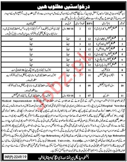 District Headquarter DHQ Hospital Jobs 2019 For Nowshera KPK