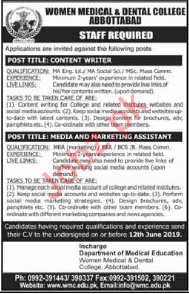 Women Medical & Dental College Content Writer Jobs 2019