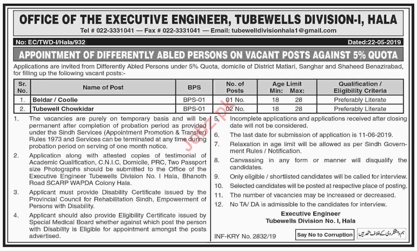 Executive Engineer Tube Wells Divisions Hala Jobs 2019