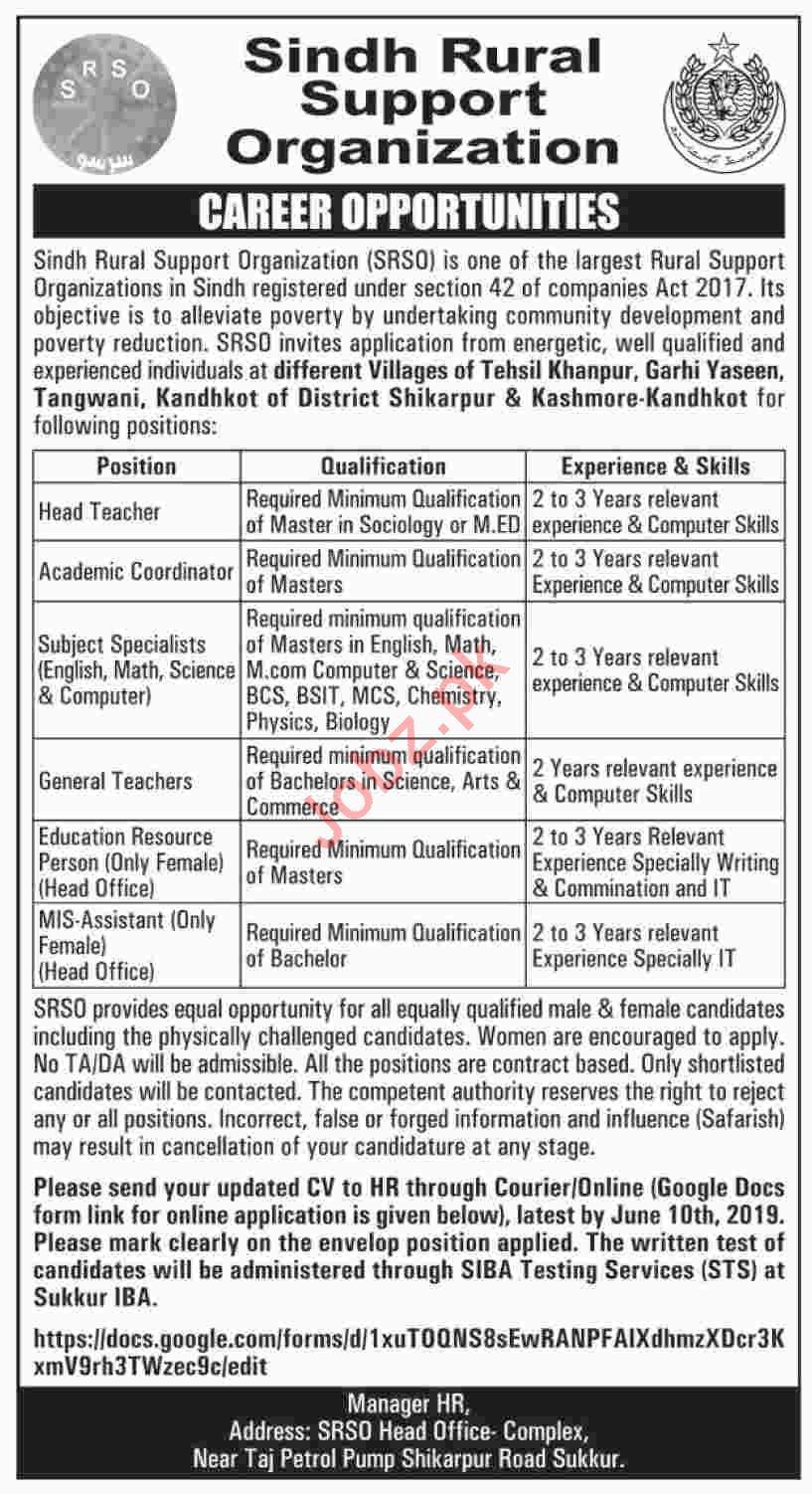 Sindh Rural Support Organization SRSO Sukkur Jobs 2019