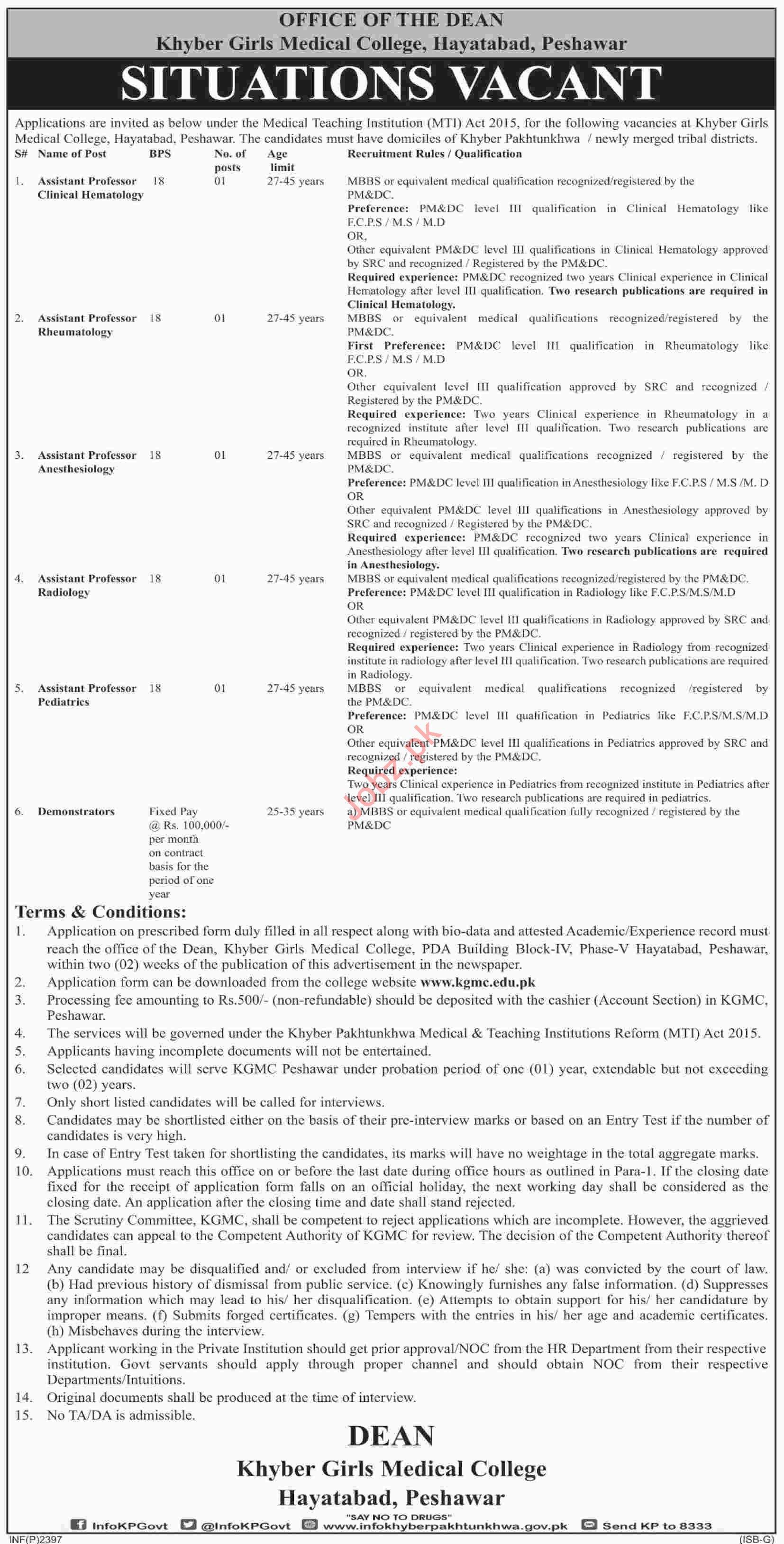 Khyber Girls Medical College KGMC Peshawar Jobs 2019