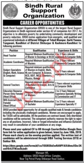 Sindh Rural Support Programe Organization Teaching Jobs 2019