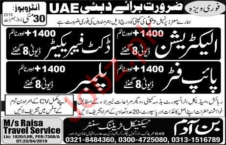 Electrician & Pipe Fitter Jobs in Dubai UAE