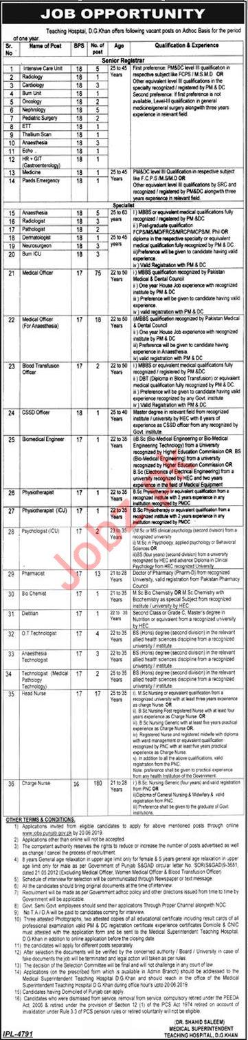 DHQ Teaching Hospital D G Khan Jobs for Medical Officers