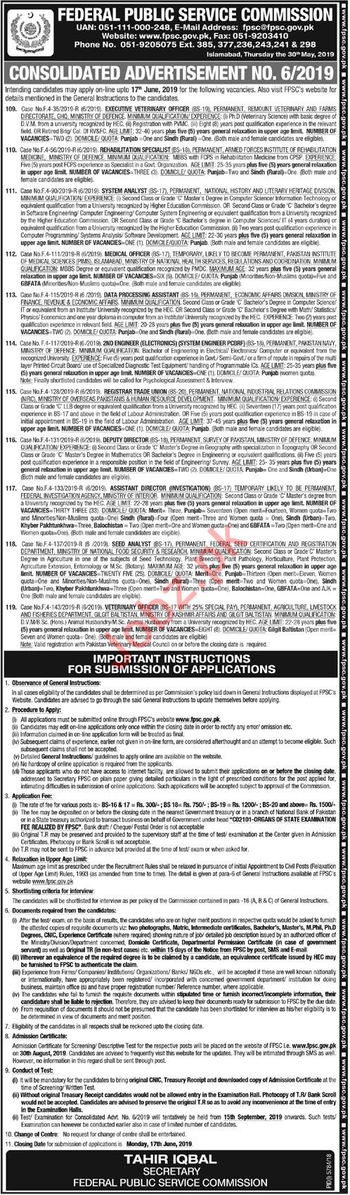 Federeal Public Services Commission FPSC Jobs 2019