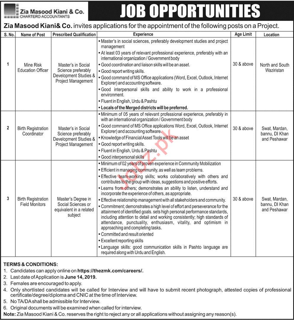 Management Jobs in Zia Masood Kiani & Company