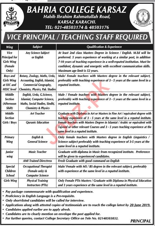 Bahria College Karsaz Jobs For Vice Principal & Teachers