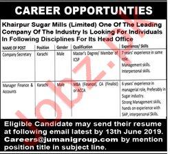 Khairpur Sugar Mills Limited Jobs 2019 in Karachi