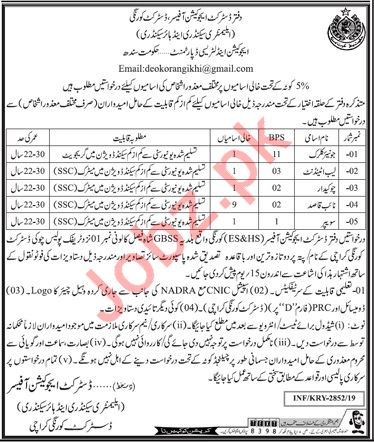 Education and Literacy Department Jobs 2019 in Karachi